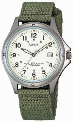 Lorus analogico Mens Watch cinturino in tela verde RXD425L8