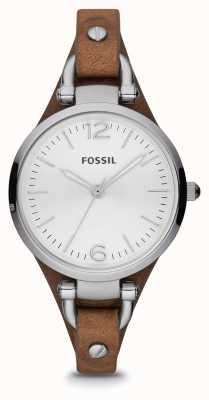 Fossil Signore marrone vigilanza dell'acciaio inossidabile del cuoio ES3060