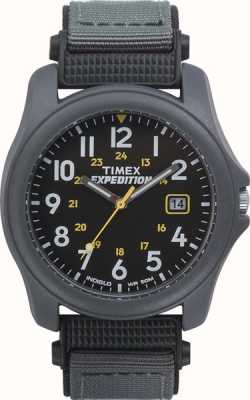 Timex Mens spedizione orologio cinturino in nylon faccia nera T42571