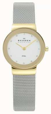 Skagen Signore goldtone caso d'argento orologio da polso maglia 358SGSCD