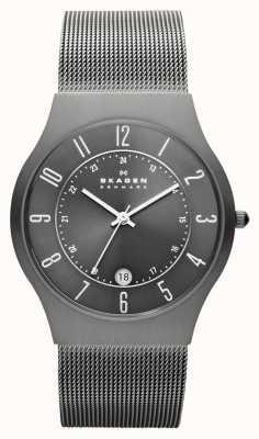 Skagen Mens cassa in titanio grigio orologio cinturino maglia 233XLTTM