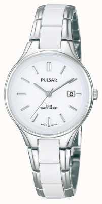Pulsar In acciaio inox e ceramica bianca Ladies ', orologio quadrante bianco PH7267X1