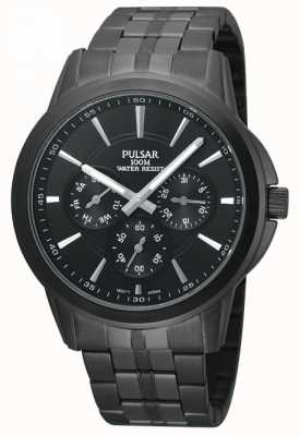 Pulsar Mens Black Watch in acciaio inox ioni placcato PP6015X1
