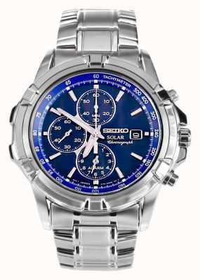 Seiko Uomo Acciaio quadrante blu energia solare cronografo SSC141P1