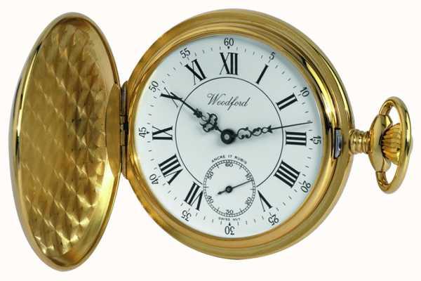 Woodford Gold-piatto, romano, quadrante bianco, orologio da tasca meccanico 1009
