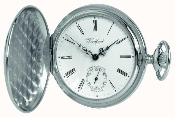 Woodford Chrome, quadrante bianco, pieno cacciatore, orologio da tasca meccanico 1061