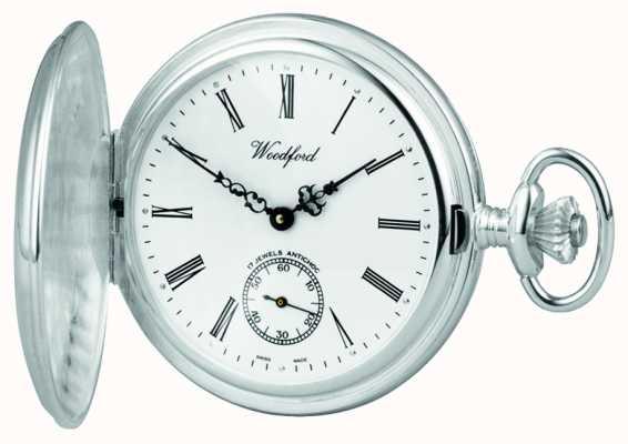 Woodford Acciaio inossidabile, quadrante bianco, cassa piena cacciatore, orologio da tasca 1001