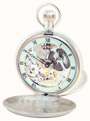 Woodford Sterling silver pianura scheletro orologio da tasca svizzero 1003