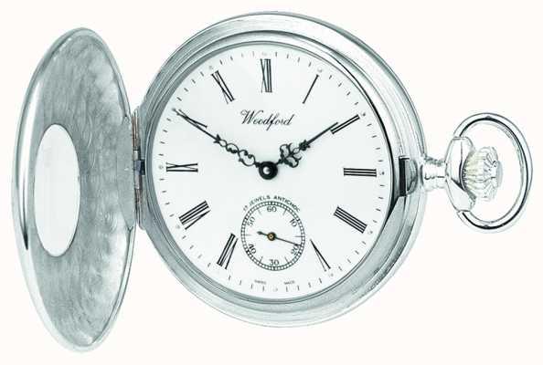Woodford Argento Sterling, caso aperto, quadrante bianco, orologio da tasca meccanico 1068