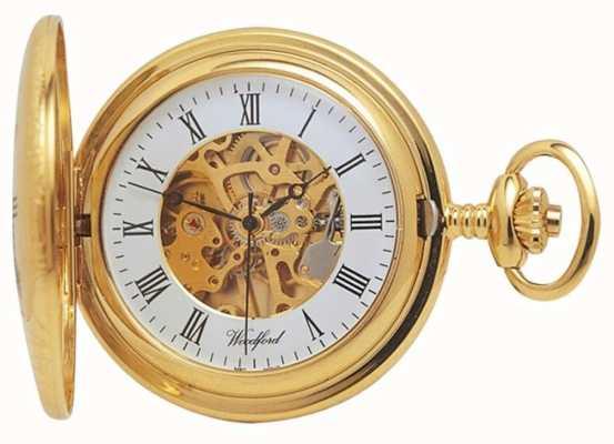 Woodford | mezzo cacciatore | placcato in oro | scheletro | orologio da tasca | 1021