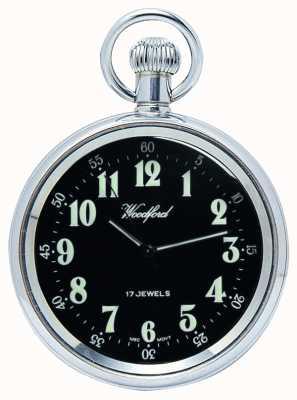 Woodford Meccanico, orologio da tasca faccia aperta, in acciaio, quadrante nero 1040