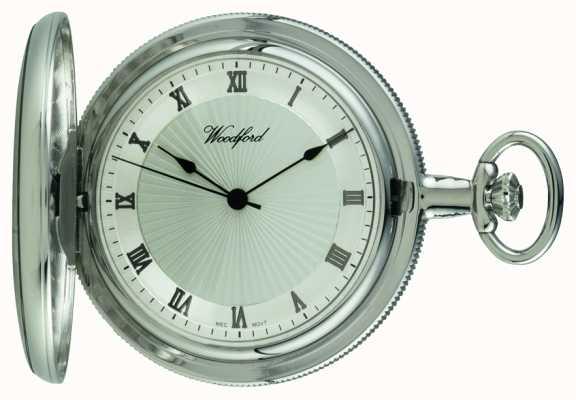 Woodford Chrome, quadrante argento, piena cacciatore, orologio da tasca meccanico 1054