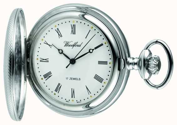 Woodford Chrome, quadrante bianco, metà cacciatore, orologio da tasca meccanico 1055