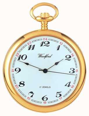 Woodford ,, Quadrante bianco arabo placcato in oro, orologio da tasca meccanico 1031