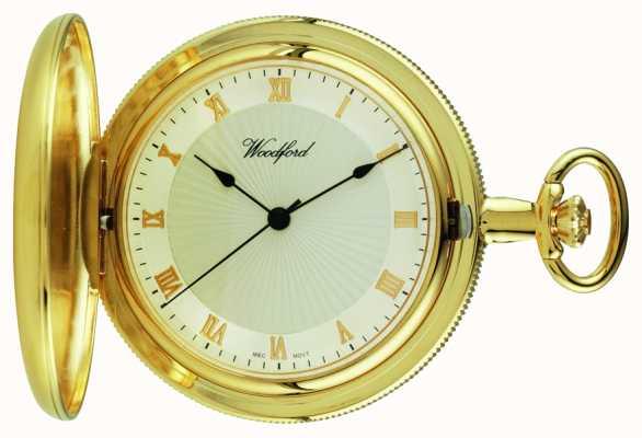 Woodford Gold-piatto, pieno cacciatore, orologio da tasca quadrante bianco 1053