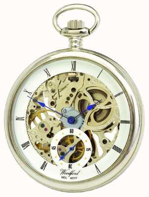 Woodford Chrome, quadrante scheletrato bianco, orologio da tasca meccanico 1043