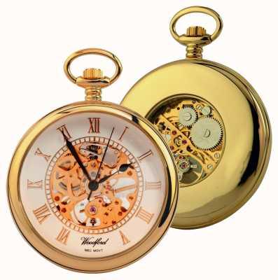 Woodford Gold-plate, quadrante scheletrato bianco, faccia aperta, orologio da tasca 1030