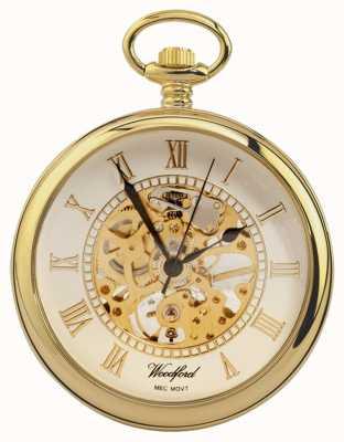 Woodford | faccia aperta | placcato in oro | scheletro | orologio da tasca | 1030