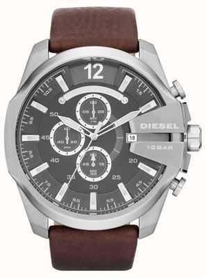 Diesel Mens mega capo grigio quadrante marrone cinturino in pelle cronografo DZ4290