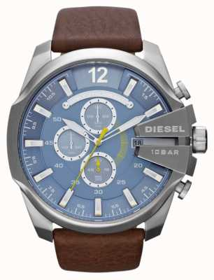 Diesel Mens mega capo quadrante blu cinturino in pelle marrone cronografo DZ4281