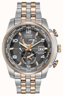 Citizen tempo del mondo degli uomini in grigio quadrante bicolore cronografo AT9016-56H