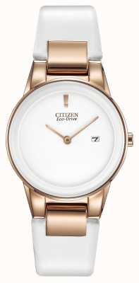 Citizen Assioma signore, oro-plate, ceramica bianca, orologio cinturino in pelle GA1053-01A