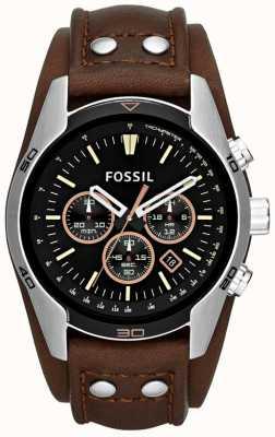 Fossil cocchiere Mens orologio quadrante nero cinturino bracciale in pelle marrone CH2891
