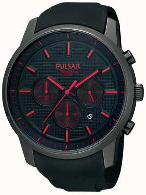 Pulsar Mens Black Watch cinturino in gomma rossa dettaglio ioni placcato PT3195X1