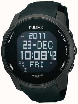 Pulsar Mens ioni digitale in acciaio placcato orologio cinturino in caucciù nero PQ2011X1