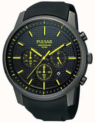 Pulsar Mens Black Watch cinturino in caucciù giallo dettaglio ionico-plated PT3193X1