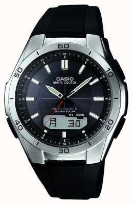 Casio orologio in acciaio inox Mens Wave Ceptor cinturino in caucciù nero WVA-M640-1AER