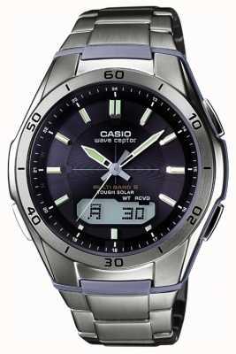 Casio Mens Wave Ceptor orologio in titanio quadrante nero WVA-M640TD-1AER