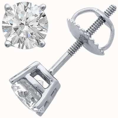 Certified Diamond Orecchini, artiglio quattro 1.00ct h si, fondo a vite raccordi C100PT-4CLAW-HSI