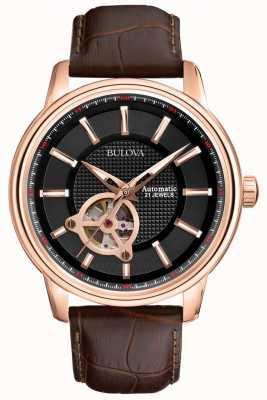 Bulova Mens automatico in oro rosa orologio cinturino in pelle marrone 97A109