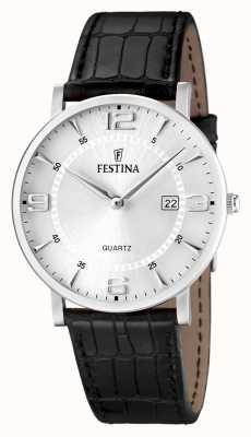 Festina Mens Watch cinturino in pelle nera in acciaio inox F16476/3