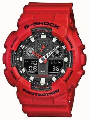 Casio Mens resina rossa orologio multi-funzione GA-100B-4AER