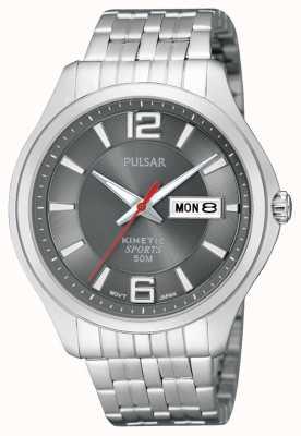 Pulsar Mens Watch quadrante grigio acciaio inossidabile cinetica dello sport PD2035X1