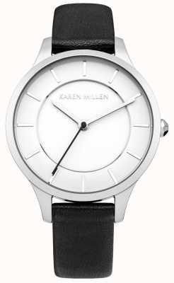 Karen Millen ione Black Watch cinturino in pelle in acciaio placcato Womens ' KM133BA