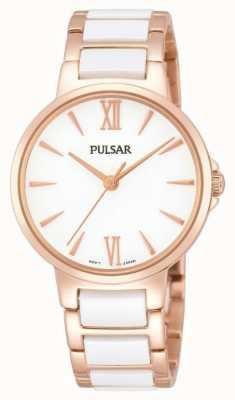 Pulsar Ladies 'Rosa bianca orologio vestito classico PH8078X1