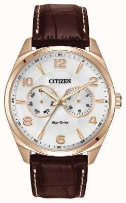 Citizen Mens rosa quadrante champagne oro orologio cinturino in pelle marrone AO9023-01A