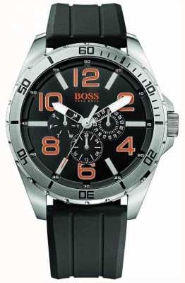 Hugo Boss Orange Mens cinturino in caucciù nero orologio più quadrante in acciaio inox 1512945
