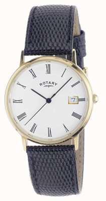 Rotary Mens 9ct orologio caso cinturino in oro GS11476/01