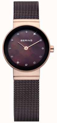 Bering Signore Tempo marrone classico orologio maglia 10122-265