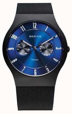 Bering Mens titanio nero orologio quadrante blu 11939-078