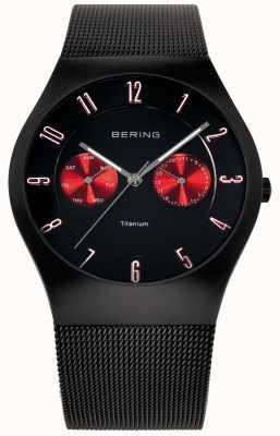 Bering titanio Mens Watch cinturino nero rosso della maglia accento 11939-229