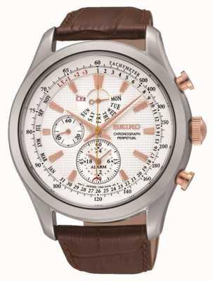 Seiko Mens Watch in pelle marrone quadrante bianco in acciaio inox SPC129P1