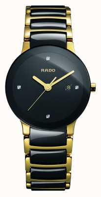 Rado Orologio quadrante nero in ceramica high-tech con diamanti Centrix R30930712