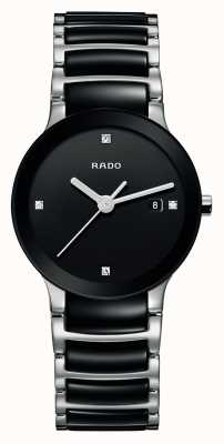 Rado Orologio quadrante nero in ceramica high-tech con diamanti Centrix R30935712