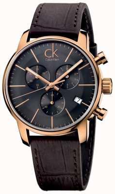 Calvin Klein Mens oro rosa quadrante nero in pelle marrone città cronografo K2G276G3