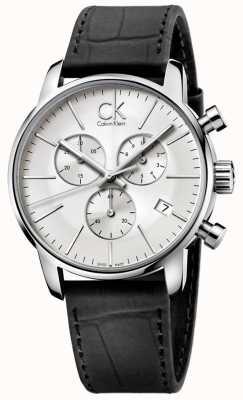 Calvin Klein Uomo Acciaio e nero argento quadrante del cronografo città K2G271C6